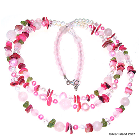 Terrific Rose Quartz Sterling Silver Necklace 18 inches long