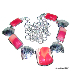Botswana Agate Sterling Silver Necklace 19 inches long