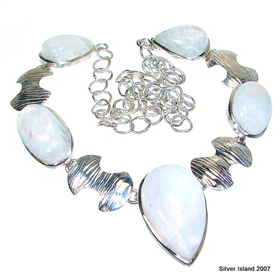 Elegant Moonstone Sterling Silver Necklace 18 inches long