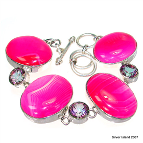 Large Pink Candy Botswana Agate Sterling Silver Bracelet