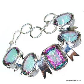Chunky! Incredible Mystic Topaz Sterling Silver Bracelet