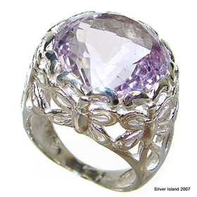 Chunky Royal Amethyst Sterling Silver Ring size M