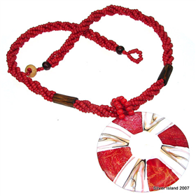 Splendid Red Coral & Shell Necklace 18 inches long