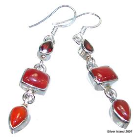 Carnelian Agate Sterling Silver Earrings
