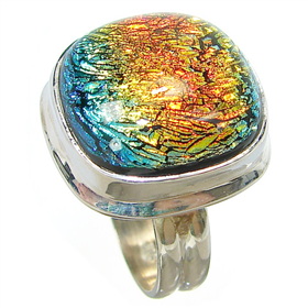 Rainow Dichroic Glass Sterling Silver Ring size N 1/2