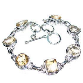 Elegant Citrine Sterling Silver Bracelet