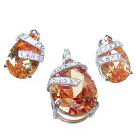 Charming Chunky Honey Topaz Sterling Silver Set