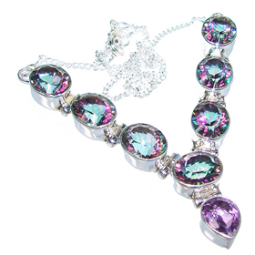 Mystic Topaz Sterling Silver Necklace 15 inches long
