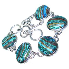 Chunky Rainbow Calsilica Sterling Silver Bracelet