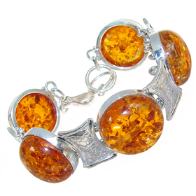 Chunky Honey Amber Sterling Silver Bracelet