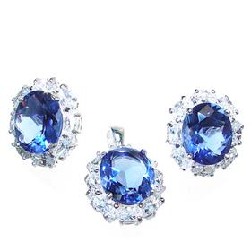 Sapphire Quartz Sterling Silver Set