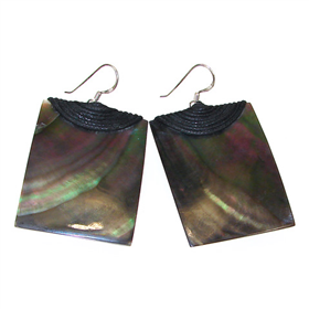 Large Rainbow Abalone Sterling Silver Earrings