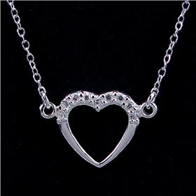 Paris Heart Quartz Sterling Silver Necklace lenght 15 inches