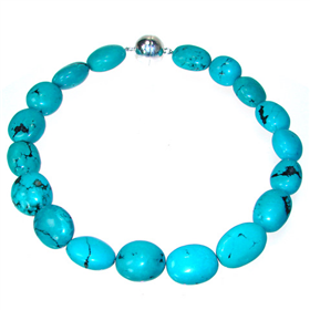 Chunky African Turquoise Sterling Silver Necklace 15 inches long