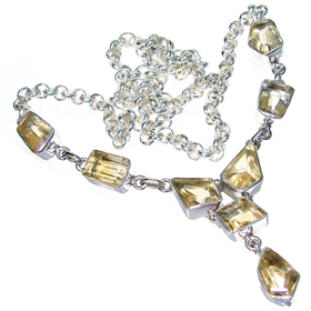 Fantastic Citrine Sterling Silver Necklace 18 inches Long