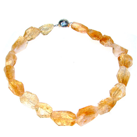 Chunky Citrine Sterling Silver Necklace 15 inches Long