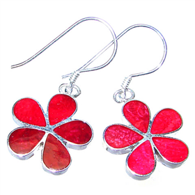 Amazing Red Coral Sterling Silver Earrings
