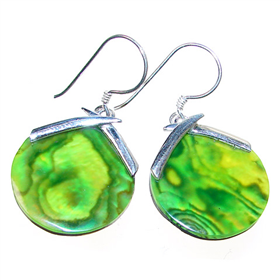 Large Gorgeous Rainbow Abalone Sterling Silver Earrings