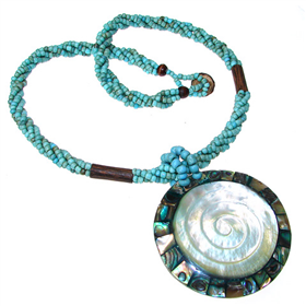 Chunky Turquoise Necklace 18 inches long