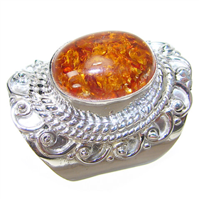 Honey Amber Sterling Silver Gemstone Ring size P