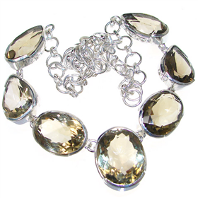 Charming Smoky Quartz Sterling Silver Necklace 17 inches long