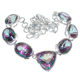 Chunky Mystic Topaz Sterling Silver Necklace 18 inches long