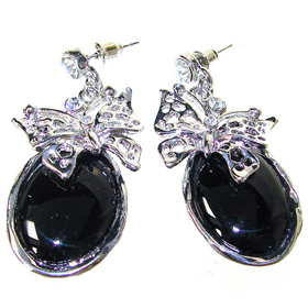 Large Elegant Onyx Earrings