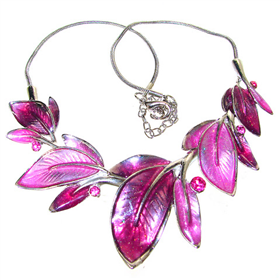 Eye-Catching Pink Orchid Necklace 17 inches
