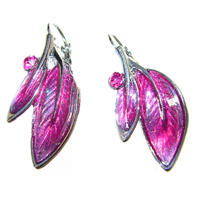 Large Eye-Catching Pink Orchid Earrings
