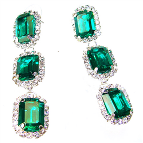 Emeraldo Triple Drop Earrings Earrings.
