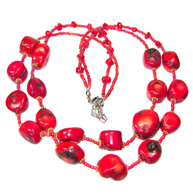 Assorted Red Coral Bead Collar Necklace 21 inches