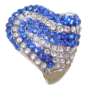 Chunky Crystal Fashion Ring size P