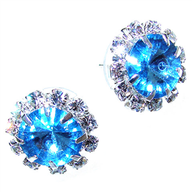 Blue Crystal Stud Fashion Earrings