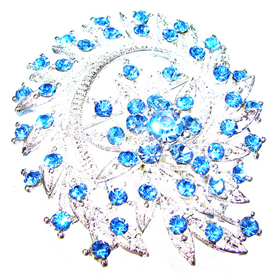 Large Splendid Blue Quartz Brooch