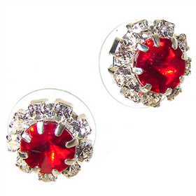 Red Crystal Stud Fashion Earrings