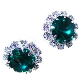 Green Crystal Stud Fashion Earrings