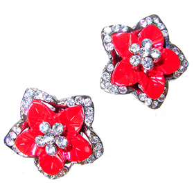 Red Coral Stud Fashion Earrings