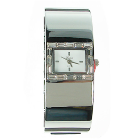 Boxed Ladies Bangle watch with clear crystal