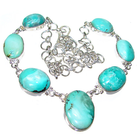 Turquoise Sterling Silver Necklace 19 inches long