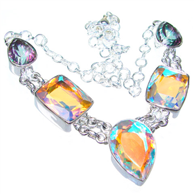 Charming Madagascar Fire Quartz Sterling Silver Necklace 15 inches long