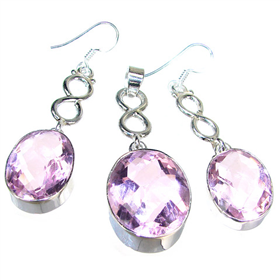 Large Gallant Pink Quartz Sterling Silver Set