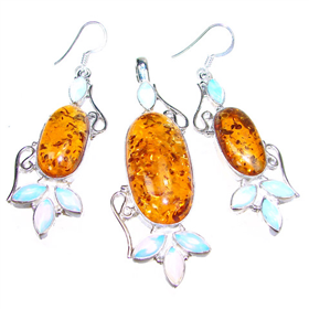 Large Finest Quality Amber Sterling Silver Set