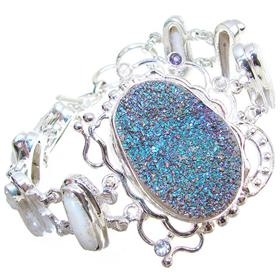 Chunky! Incredible Titanum Druzy Sterling Silver Bracelet