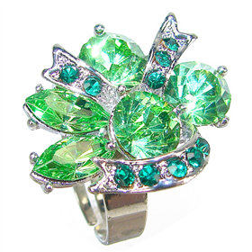 Lime Crystal Fashion Ring size P 1/2