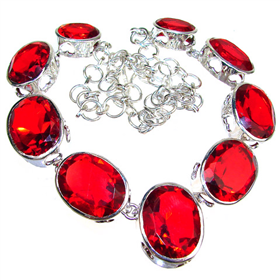 Charming Red Quartz Sterling Silver Necklace 19 inches long