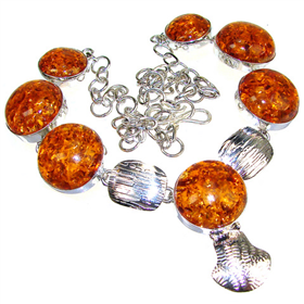 Honey Amber Sterling Silver Necklace 18 inches long