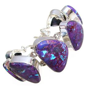 Large Purple Turquoise Sterling Silver Bracelet