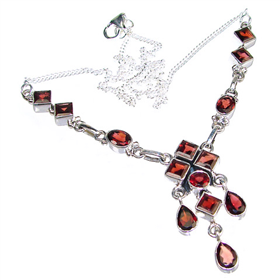 Elegant Garnet Sterling Silver Necklace 17 inches long