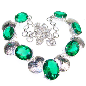Charming Lime Quartz Sterling Silver Necklace 19 inches long