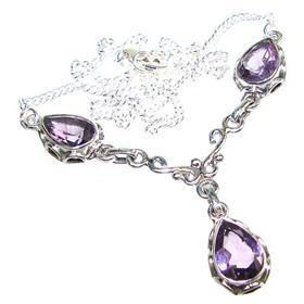 Marvelous Royal Amethyst Sterling Silver Necklace 16 inches long